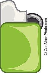 color, ilustración, o, cigarrillo, vector, verde, encendedor, zippo, dibujo