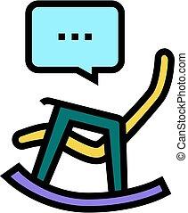 color, ilustración, silla, icono, mecedor, señal, vector