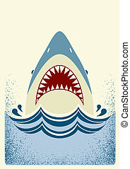 color, ilustración, vector, jaws., tiburón