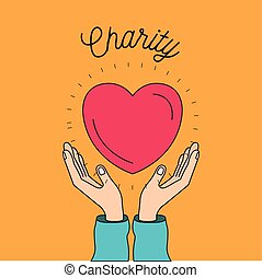 color image background hands with floating heart charity...