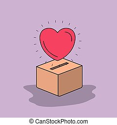 color image background heart depositing in a carton box...