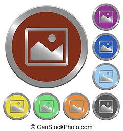 Color image buttons - Set of glossy coin-like color image...