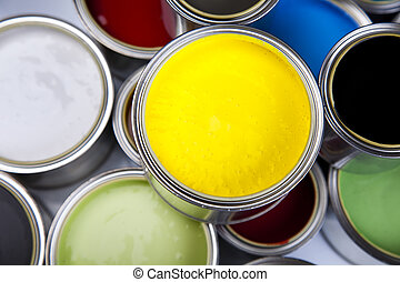 Color Image - Cans of paint with paintbrush