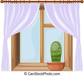 Color image Cartoon style windows with curtains on a white background. Vector illustration of a window with a flower cactus
