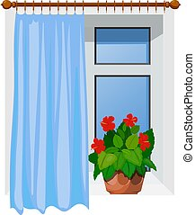 Color image Cartoon style windows with curtains on a white background. Vector illustration of a window with a hibiscus flower