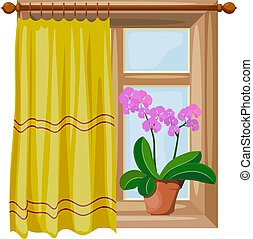 Color image Cartoon style windows with curtains on a white background. Vector illustration of a window with an orchid flower