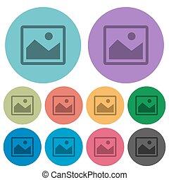 Color image flat icons - Color image flat icon set on round...