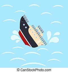 Color image for design ship in sea waves. Shipwreck on a blue background. Sea catastrophe. Vector illustration