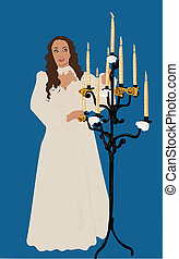 girl in white dress next to the chandelier