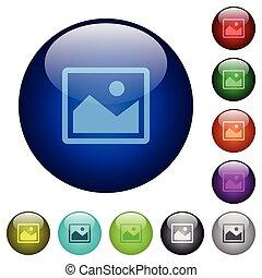 Color image glass buttons - Set of color image glass web...