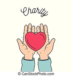 color image hands holding in palms a heart charity symbol