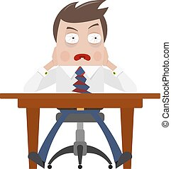 Color image of a frightened businessman. Businessman at his desk, the concept of crisis, bad