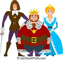 Color image of a royal family on a white background. Flat style king, princess and prince. Vector illustration