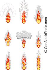 Color image of a set of explosions on a white background. Cartoon style explosions. Vector illustration