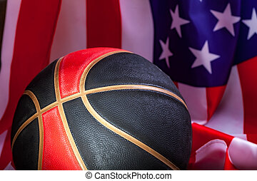 basketball with an American flag in the background