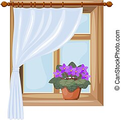 Color image of a window with curtains on a white background. Vector illustration of a window with a flower of violet