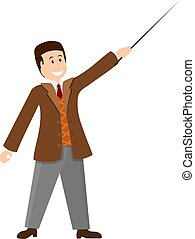 Color image of a young teacher with a pointer on a white background. Professor in the jacket at the lesson. Presentation. Flat Vector illustration