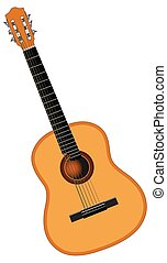 Color image of acoustic guitar - Color image of six-string...