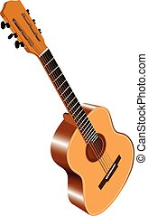 Color image of acoustic guitar - Color image of six-string ...