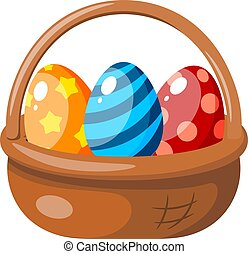 Color image of an Easter basket with colored eggs. Vector illustration of a cartoon style holiday basket