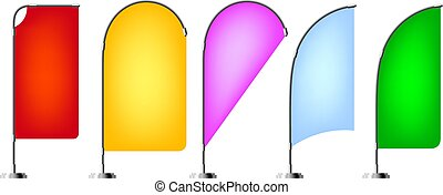Color image of beach flags on a white background. Set of isolated objects. Vector illustration