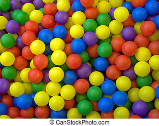 Color image of blue, green, red, yellow sport ball