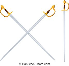 Color image of two crossed swords on a white background. Vector illustration of swords in cartoon style