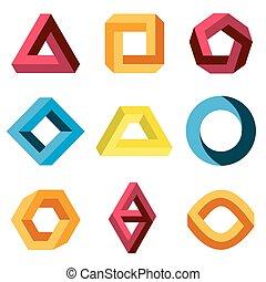 Color impossible vector shapes set