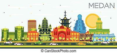 color, indonesia, medan, contorno, azul, sky., ciudad, ...