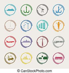 color, industrial, logístico, iconos