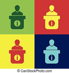 Color Information desk icon isolated on color backgrounds. Man silhouette standing at information desk. Help person symbol. Information counter icon. Flat design. Vector Illustration