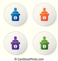 Color Information desk icon isolated on white background. Man silhouette standing at information desk. Help person symbol. Information counter icon. Color icon in circle buttons. Vector Illustration