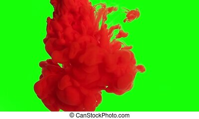 Color Ink in water - Color Ink on a green background