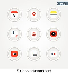Color interface icons collection. Design elements