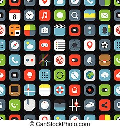 Color interface icons seamless background