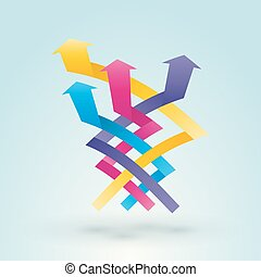 Color intertwined arrow pointing upward