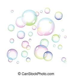 color, jabón burbujea