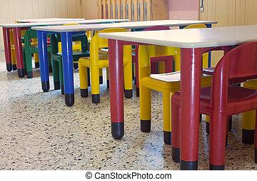 color, jardín de la infancia, pequeño, bancos, refectorio