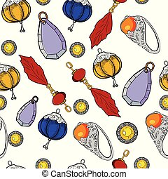 Color jewelry Vector pattern of hand drawing