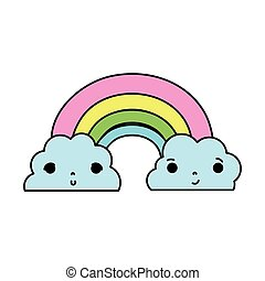 color kawaii cute rainbow and clouds weather