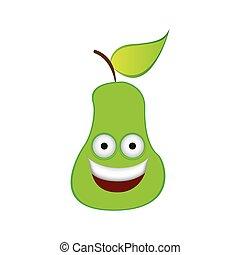 color kawaii fruit pear happy icon
