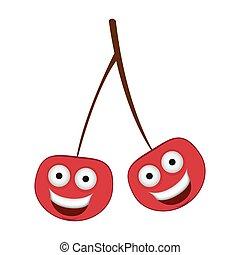 color kawaii happy cherrys icon