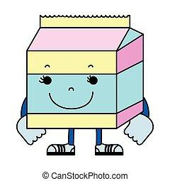 color kawaii happy milk box nutrition