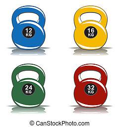 Color kettlebells on white