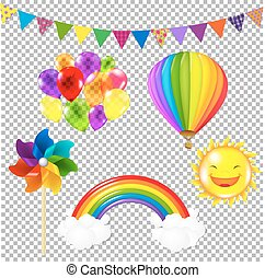 Color Kids Set, Isolated on Transparent Background, With...
