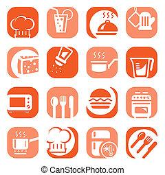 color kitchen icons set