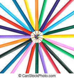 color, lápices, aislado, blanco