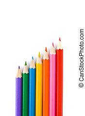 color, lápices, blanco, aislado