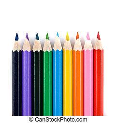 color, lápices, blanco, aislado, macro