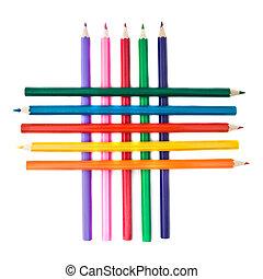 color, lápices, blanco, reja, aislado